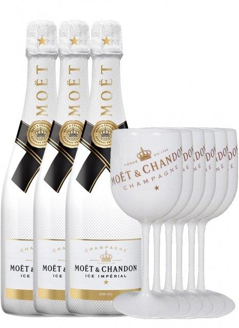 Moët & Chandon 3 Moët Ice + 6 flûtes Non millésimé Bouteille 75CL bouteille + flûtes