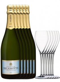 Delamotte 6 Brut + 6 flûtes Non millésimé Bouteille 75CL bouteille + flûtes