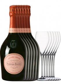 Laurent-Perrier 6 Cuvée Rosé + 6 flûtes Non millésimé Bouteille 75CL bouteille + flûtes