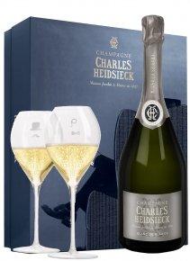 Charles Heidsieck Coffret Dandy Blanc de Blancs Non millésimé Bouteille 75CL bouteille + flûtes