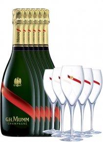 Mumm 6 Grand Cordon + 6 flûtes Non millésimé Bouteille 75CL bouteille + flûtes