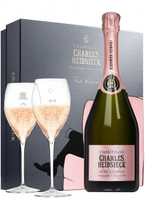Charles Heidsieck Coffret Dandy Rosé Non millésimé Bouteille 75CL bouteille + flûtes